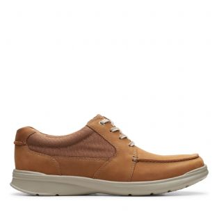 Clarks Mens Cotrell Lane Tan Combi Leather Shoes